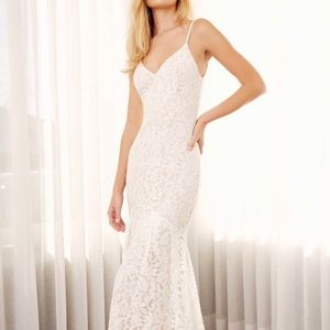 Flynn White maxi dress by Lulus